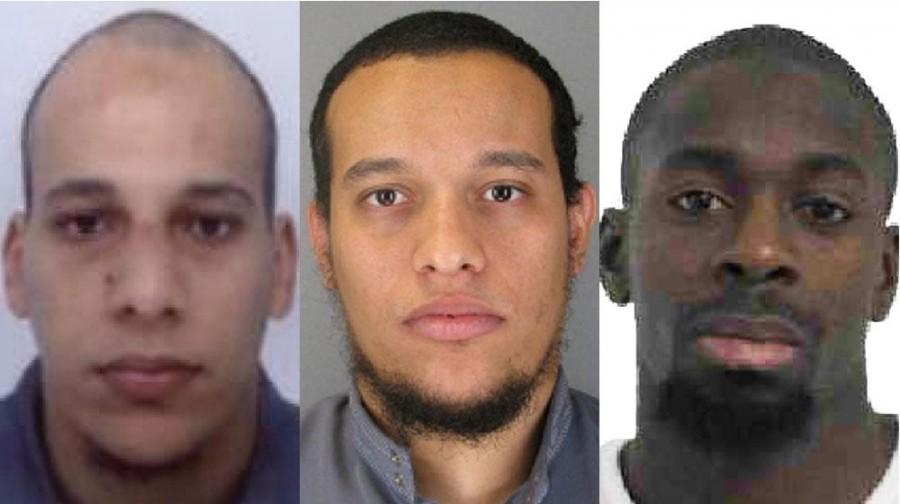 Chérif et Saïd Kouachi (à gauche) suspectés d'être liés à Al-Qaïda et Amedy Coulibaly (à droite) se revendiquant de Daech (Police Nationale)