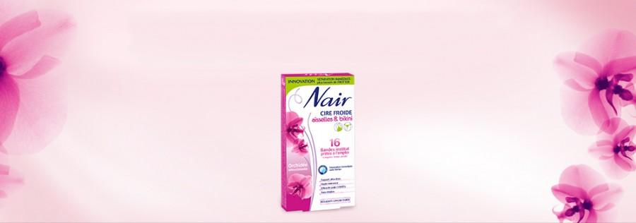 La marque Nair propose toute une gamme de produits pour l'épilation.