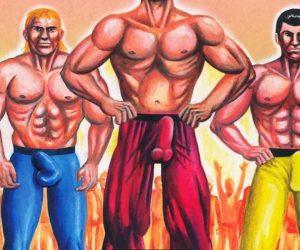 Trois hommes blancs cisgenres musculeux avec des énormes sexe moulés par leur pantalon