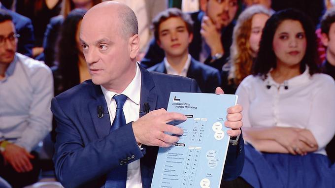 Jean-Michel Blanquer présentant à l'aide d'un panneau la réforme du Bac lors de l'Emission Politique ©Capture d'écran France 2
