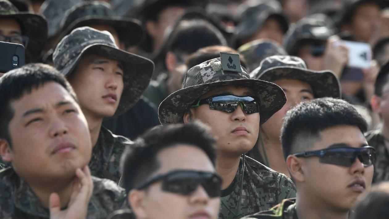 Des soldats sud-coréens lors d'une démonstration, ce mardi 11 septembre 2018. | JUNG YEON-JE / AFP