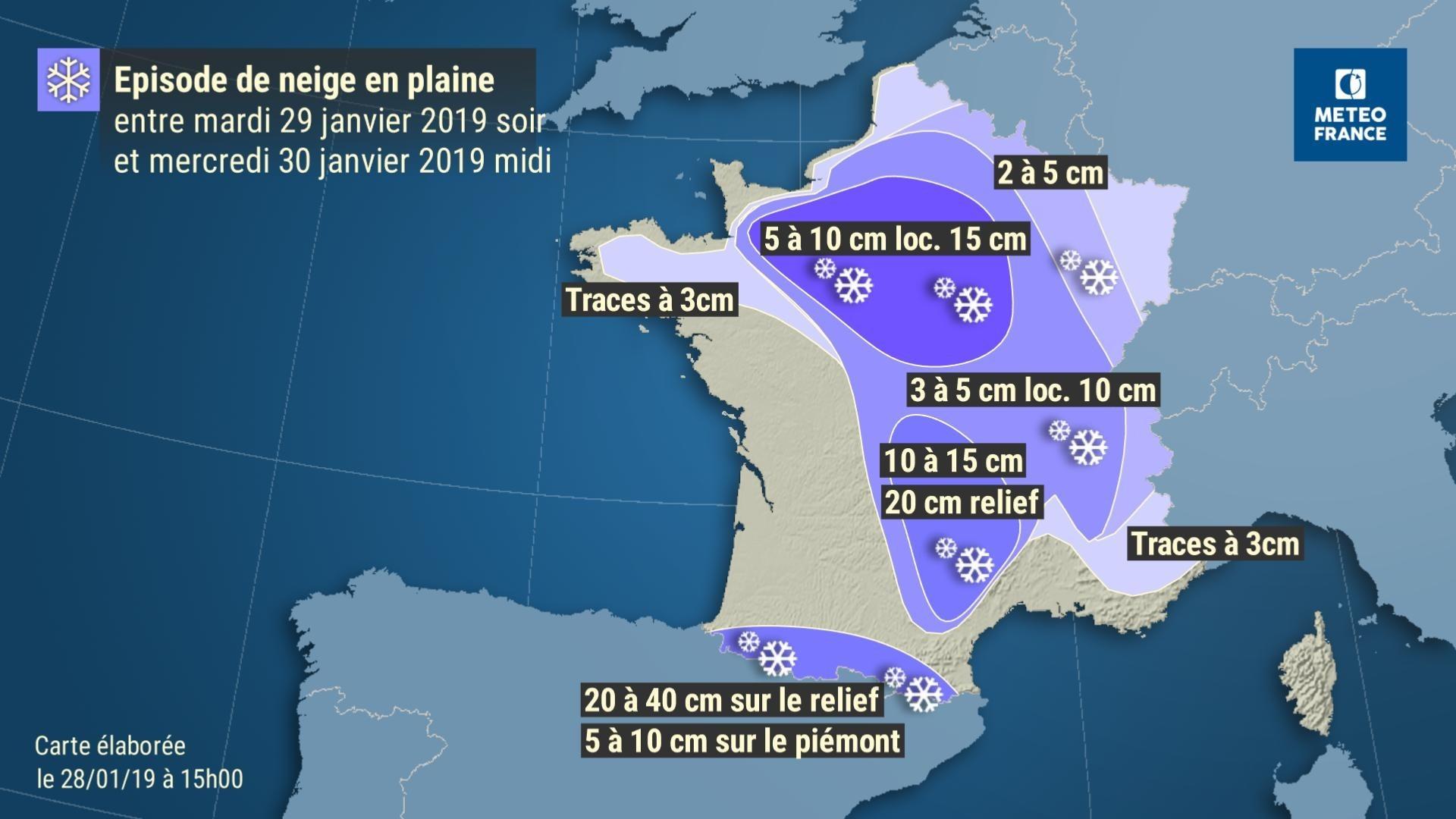 Episode de neige prévu suite à la tempête Gabriel / C.Meteo France