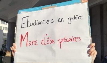 Affiche étudiant  «Etudiant.E.S en galère  Marre d'être précaires»