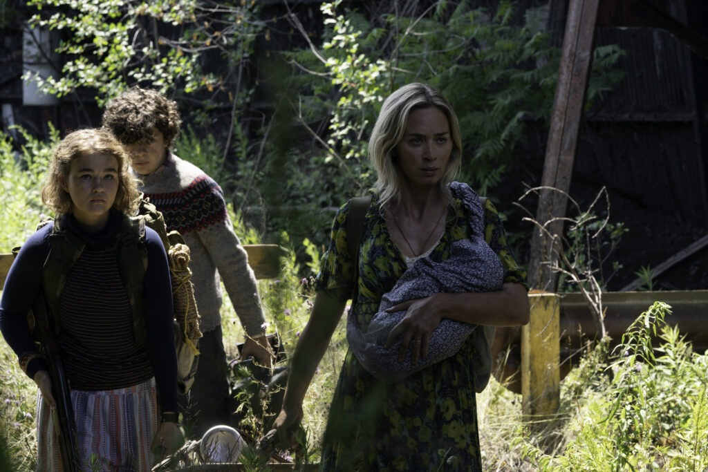 """""""L-r Regan, Marcus and Evelyn brave the unknown in A Quiet Place Part II."""""""