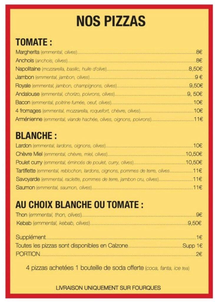 La carte des pizzas proposées par l'Arène des pizzas / ©Andy Younes
