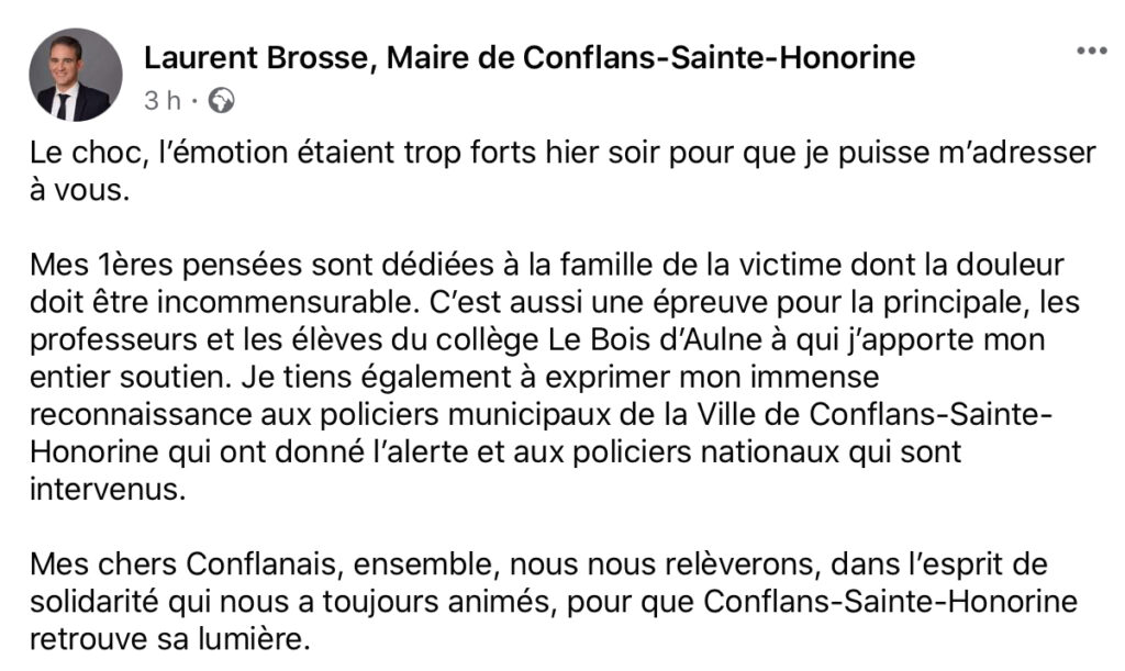 Attentat contre un enseignant à Conflans Sainte Honorine